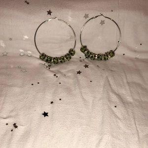 Jewelry - Silver Hoops (green/silver)